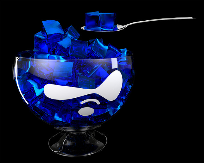 Drupal flavored Gelatin in a glass bowl